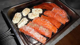 Salmon and halloumi in a Camerons Stove top smoker